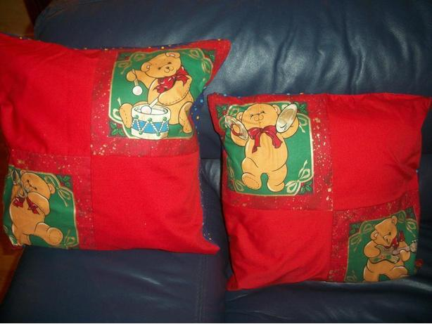 Two Brand New Christmas Teddy Pillows