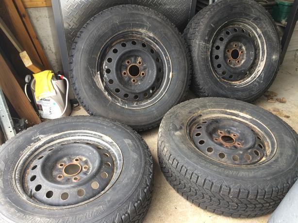4 Rims w/Winter Tires (Firestone Winterforce P225/70R16/101S) - $300