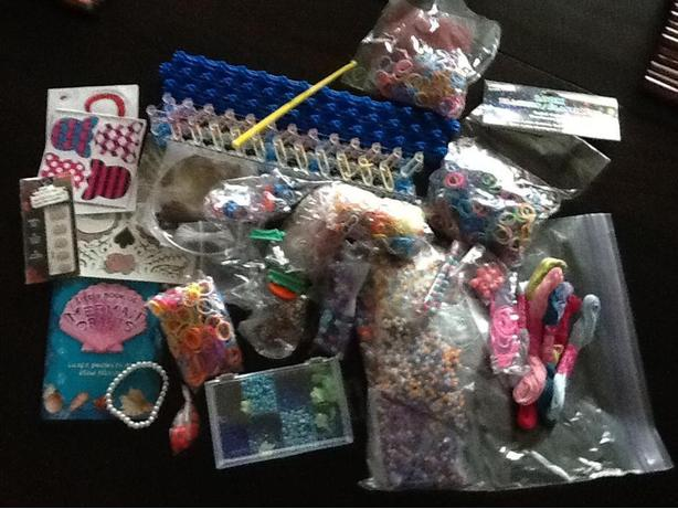 Huge lot of Kid's beads, bands and stickers