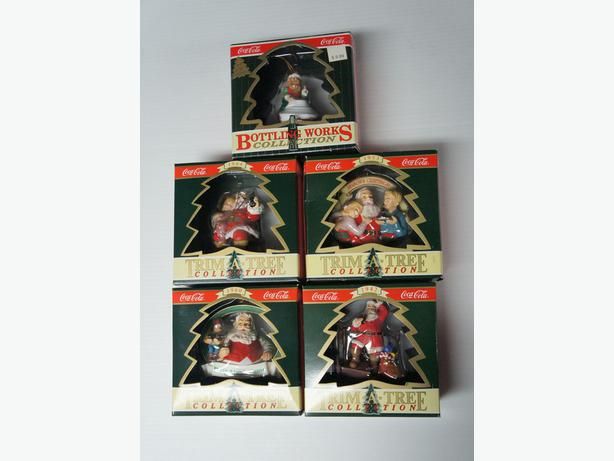 Five Vintage Coca Cola Christmas tree ornaments