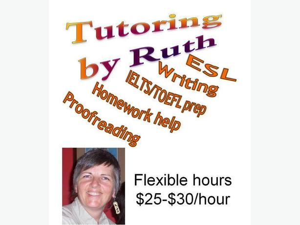 Tutor: ESL, writing, IELTS/TOEFL, homework help, Proofreading -- Nanaimo