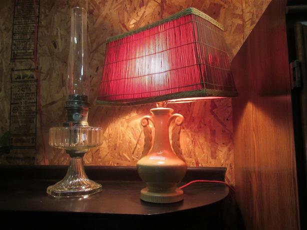 FOUR RETRO LAMPS 1920 TO 1950S FROM ESTATE