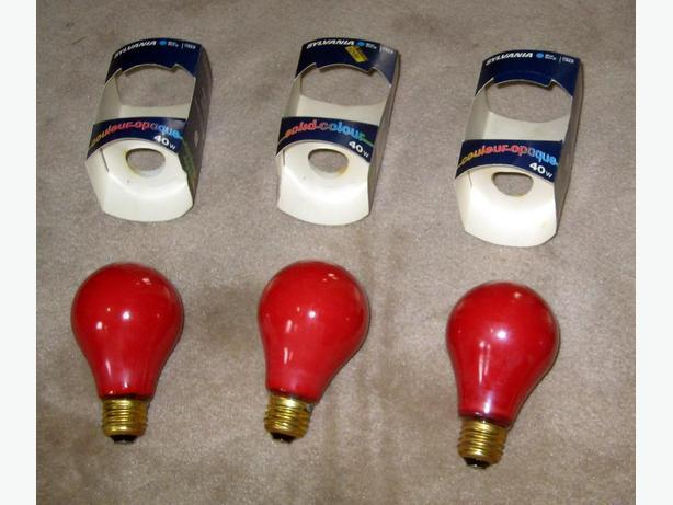 3 Like-New Red Sylvania Brand 40 Watt Bulbs