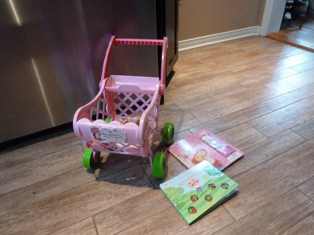 Strawberry Shortcake shopping cart, play food and books.