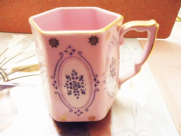 1920's Antique Bone China Cup - Czechoslovakian - Pink & 24Kt Gold