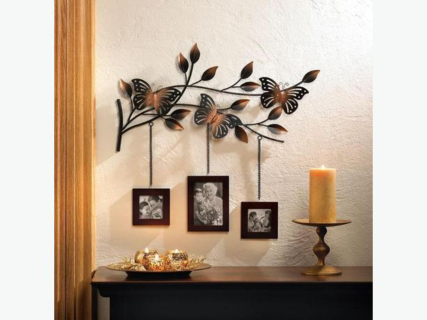 Unique Butterfly Ornament Plaque Wall Decor Photo Holder Set of 2 Brand New