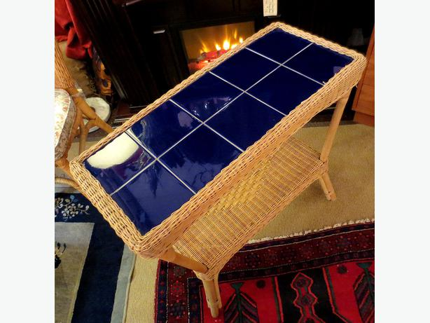 Blue Tile Wicker Table - Visa/MCard Available