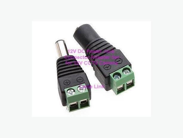 12V DC Power Jack Connector Cable Adapter for CCTV Camera Pair