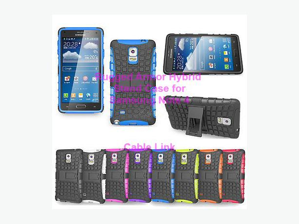 New Heavy Duty Rugged Armor Hybrid Stand Case for Samsung Note 4