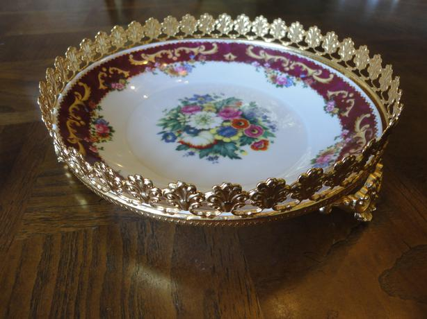 Vintage Floral Plate With Gold Plated Crown By Vizavi T. Limoges
