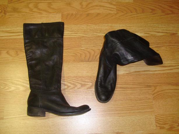 Black Tall Leather Boots Size 8 - Excellent Condition! $8