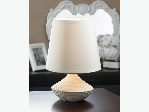 Mini White Table Lamp With Oversized Shade & Pebble Base Set of 4 New