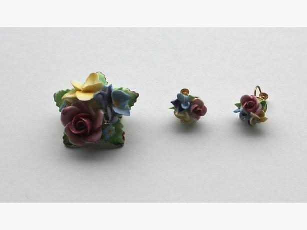 Vintage China Brooch and Earring Set