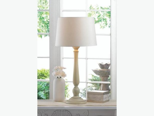 Sleek Ivory Table Lamp With Ceramic Based Set of 2 Brand New