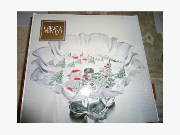 MIKASA - Footed Glass Stand Dish - Holiday Landscape NEW in Box