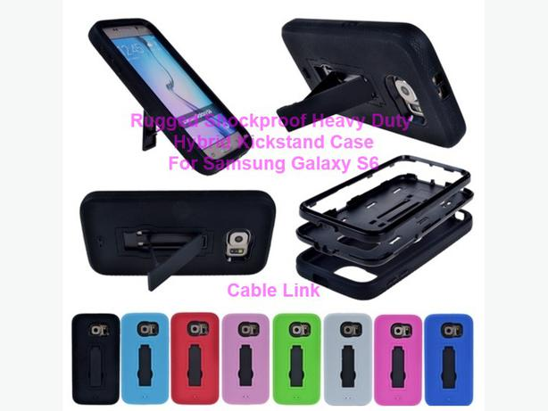 Shockproof Heavy Duty Hybrid Kickstand Case for Samsung S6