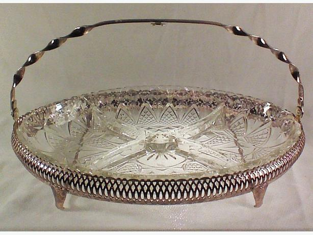 Queen Anne-style silverplated divided dish