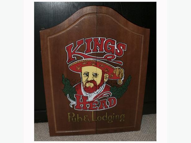 vintage  king s head pub lodging  wood cabinet and dart vintage wooden dart board cabinet vintage dart board cabinet uk