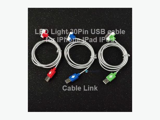 LED Light 30pin USB Data and Charging Cable for IPhone IPad IPod