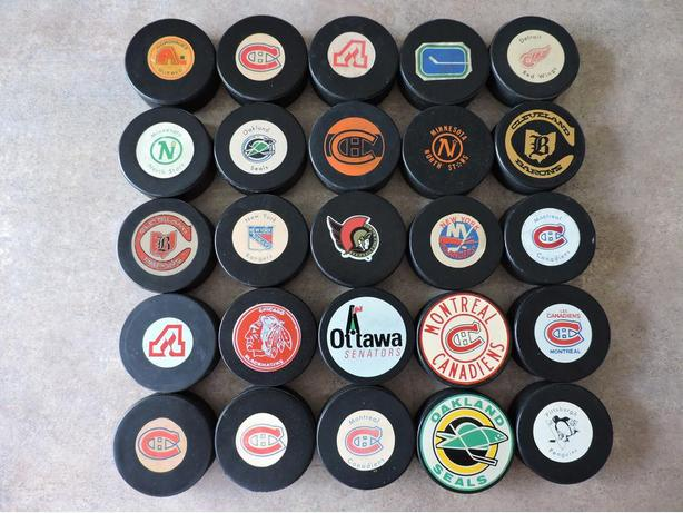 WANTED - HOCKEY PUCKS - NHL, WHA, OHA, WHL, etc....