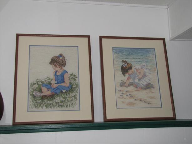 """Daisy Girl"" & ""Collecting Shells"" Framed Counted Cross Stitch"