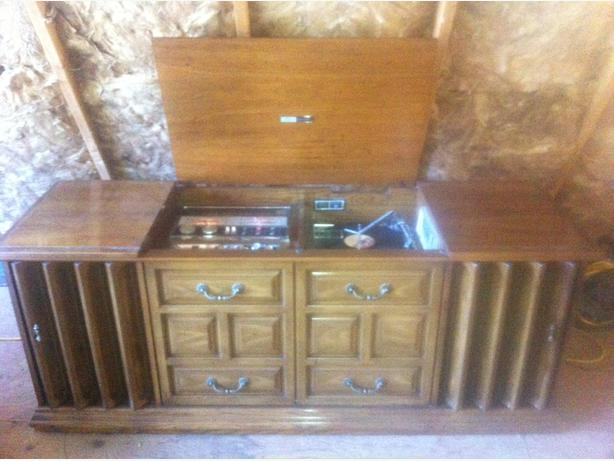 Zenith console stereo with 8 track, cassette, record player, dual band radio