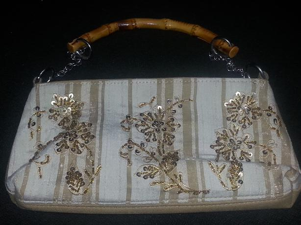 Bead & Sequence Tan Evening Bag