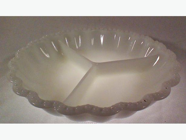 Milk glass divided dish