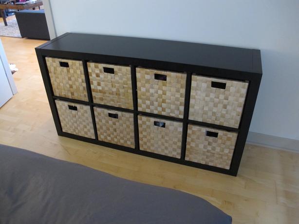 ikea kallax shelving unit black brown 8 baskets. Black Bedroom Furniture Sets. Home Design Ideas