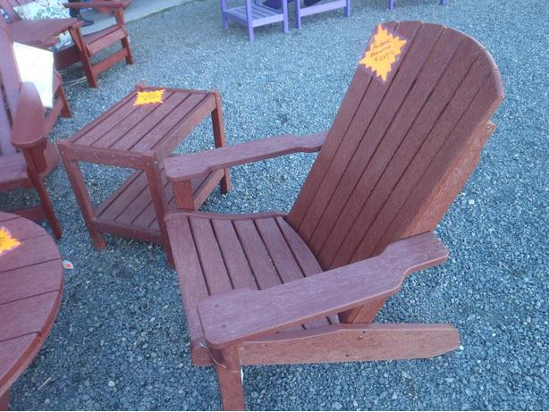 ADIRONDACK CHAIRS & TABLES REDWOOD COLOUR, BREEZESTA OUTDOOR POLY FURNITURE