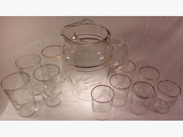 Pitcher with 10 glasses
