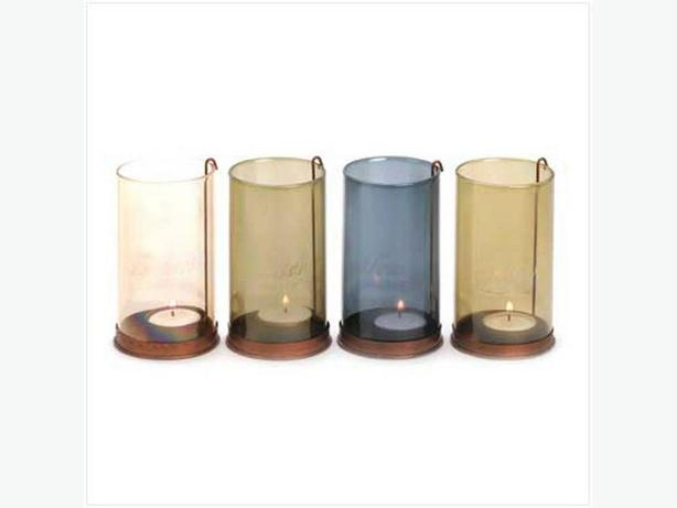 Heart-Felt Etched Colored Glass Tealight Candleholder Set 4PC