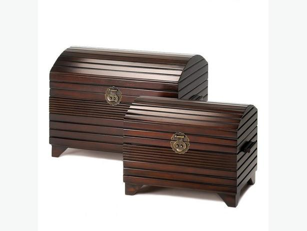 2PC Dark Wood Mahogany Finish Nesting Storage Chest Trunk Set Brand New