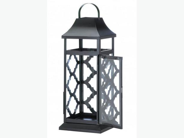 Geometric Black Damask Candleholder Lantern Set of 2 Brand New