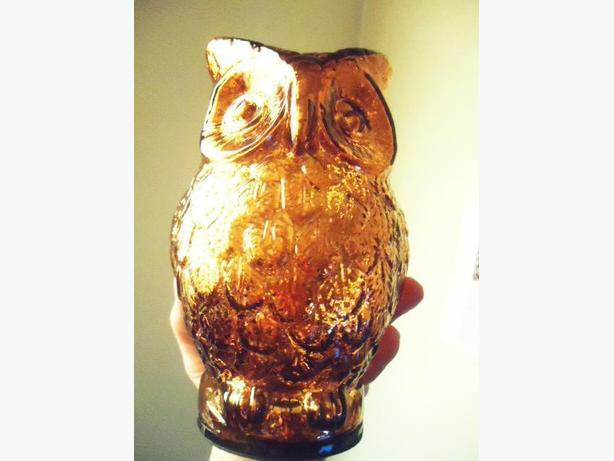 Glass Owl Figurine - Copper Gold Finish - NEW with Tags