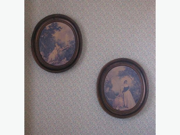 Vintage Coppercraft Wall Plaques Set of 2 Victorian-Look Large Oval-Shaped