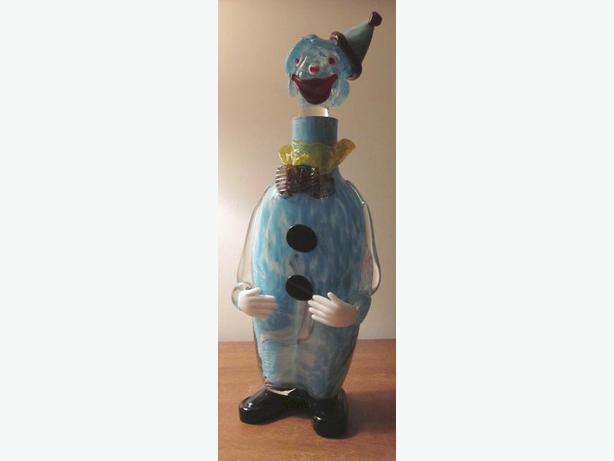 Vintage Art Glass Clown Decanter