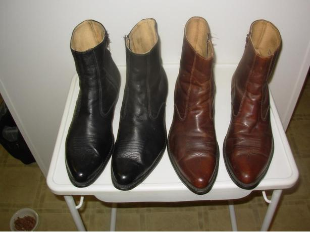TWO PAIRS OF LEATHER - CLASSY - LOW RISE DRESS BOOTS