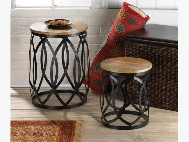 Sleek Round Accent Tables Large & Small Metal With Wood Tops 2PC Set New