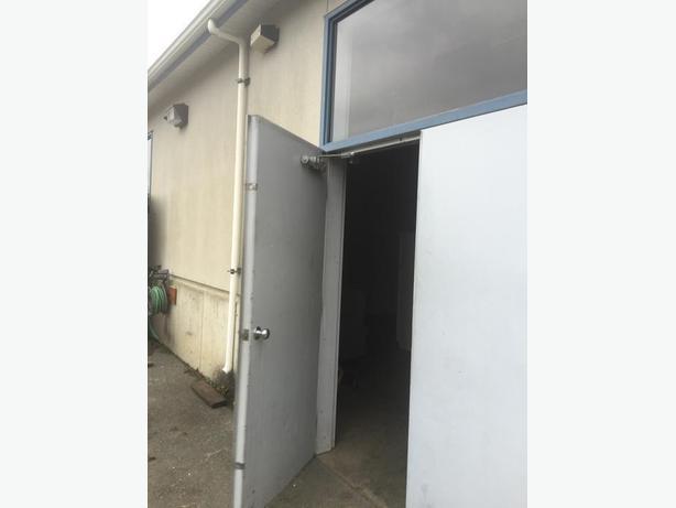 6 foot wide steel doors w frame and upper window