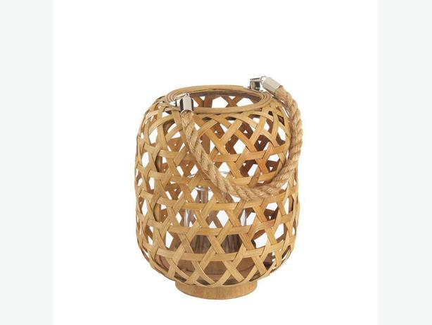 Small Bamboo Woven Candleholder Lantern Rope Handle Set of 2 New
