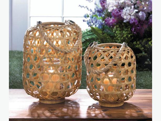 Woven Bamboo Candleholder Lantern Rope Handle 2 Lot Lg & Sm Brand New