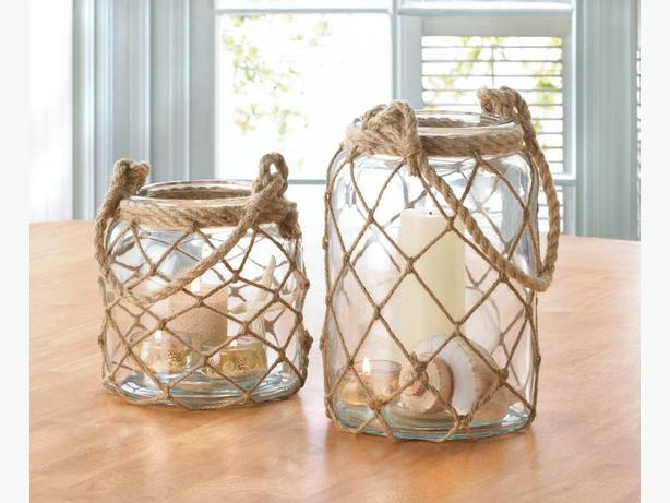 Fisherman Net Decorative Jar Candleholder 2 Lot Lg&Sm Nautical Brand New