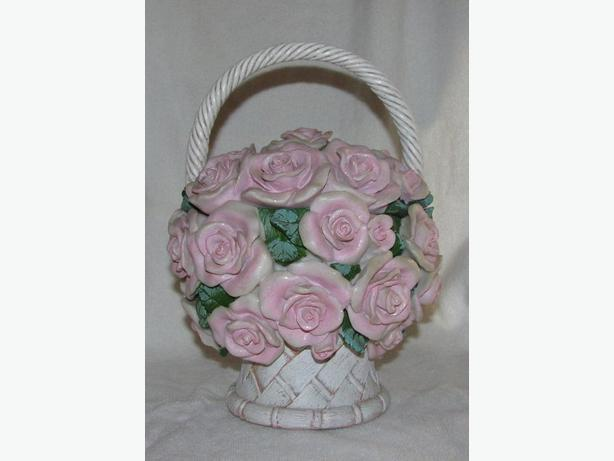 Sculpted Pink Rose Flower Basket Bowl Centerpiece With Lid Musical