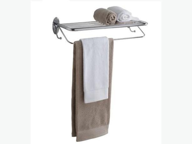 hotel style chrome towel shelf w towel bar central regina. Black Bedroom Furniture Sets. Home Design Ideas