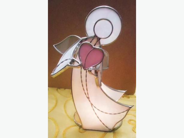 Tall Stained Glass PINK LOVE ANGEL & Tea Light Holder - New