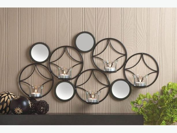 Modern Geometric Mirrored Candleholder Wall Sconce Set of 2 +Gift New