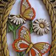 Coppercraft Oval Wall Plaque Butterflies Basket Weave Frame