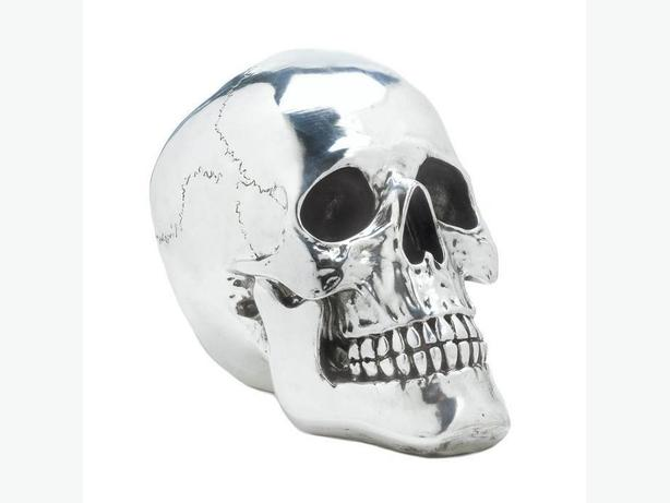 Halloween Gothic Shiny Silver Skull Ornaments Large & Small 2PC Mixed Lot New