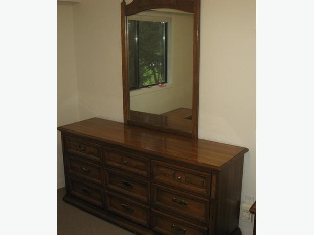 Solid Oak Gerard Collin 1952 Mid Century Dresser Mirror & 2 Night Tables